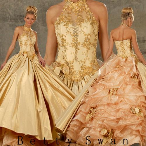 Пышные свадебные платья - золотое. персоковое - Миледи.