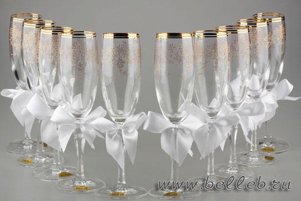 свадебные украшения на бокалы для гостей 04084