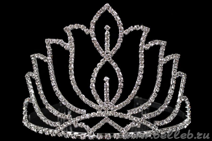 нежная плетеная диадема (тиара, корона) ручной работы со стразами, жемчугом и мелкими хрусталиками 278.
