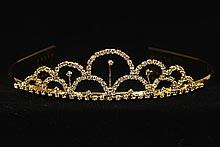 диадемы (короны, тиары) - золотистые диадемы свадебные средней высоты