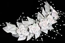 купить белые свадебные веночки из цветов и жемчуга