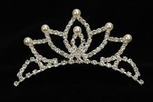 диадемы (короны, тиары) - детская корона со стразами и жемчугом