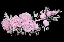 плетеный гребень ручной работы с жемчугом, стразами, розовыми цветами, цена