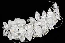 купить белый тканевый веночек с некрупными розами, фото, каталог