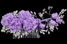 гребень для волос ручной работы с жемчугом, стразами, фиолетовыми цветами, фото