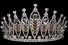 диадемы (короны, тиары) для конкурсов - высокая золотистая диадема, цена