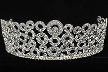 высокая серебристая диадема для невесты или конкурса красоты