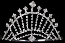 высокая серебристая диадема (тиара, корона) необычной формы, фото, цена