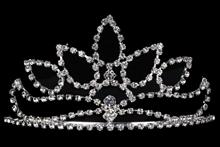 высокая серебристая диадема (тиара, корона) в форме лавровых листьев, купить