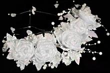 белые свадебные веночки из цветов, розы, фото, каталог, цена