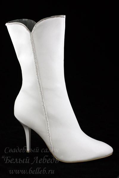 Туфли свадебные белые, ботильоны