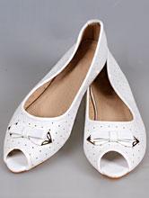 свадебная обувь, белые балетки с открытым носиком