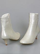 свадебные сапожки на невысоком каблуке цвета айвори, большого размера, фото, каталог с ценами