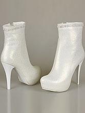 свадебная обувь, свадебные сапожки цвета айвори на скрытой платформе, фото, цены, каталог