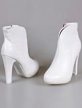 свадебная обувь, свадебные полусапожки белого цвета на высоком устойчивом каблуке