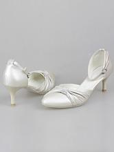 свадебная обувь, свадебные туфли цвета шампань (светло-бежевого, айвори, кремового) на низком каблуке со стразами, фото, цены