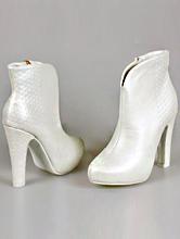 свадебная обувь, свадебные ботильоны цвета айвори на высоком устойчивом каблуке