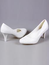 молочные туфли на свадьбу на среднем каблуке большого размера