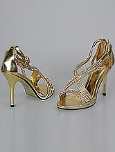 нарядная обувь, золотистые босоножки со стразами, каталог и цены, фото, интернет-магазин