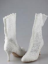 свадебная обувь, белые кружевные свадебные сапоги