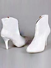 свадебная обувь, свадебные полусапожки белого цвета на среднем каблуке