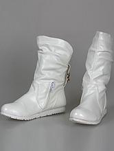 обувь на свадьбу, купить свадебные сапожки цвета айвори (шампань, кремового, светло-бежевого) без каблука, фото
