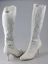 свадебная обувь, высокие кружевные свадебные сапоги молочного цвета