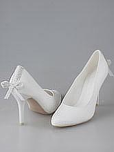 свадебная обувь, элегантные белые свадебные туфли со стразовым бантиком