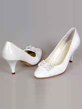 обувь на свадьбу, белые кожаные туфли на невысоком каблуке, каталог, цены, интернет-магазин