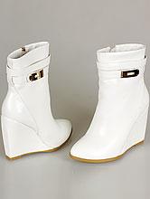 обувь на свадьбу, белые свадебные ботильоны на танкетке, купить в Москве недорого