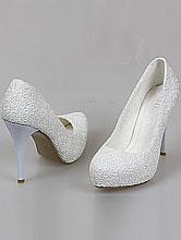 кружевные свадебные туфли на скрытой платформе и высоком каблуке