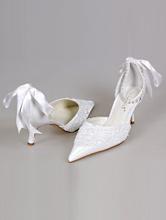 свадебные белые туфли с острым носиком, фото, каталог, интернет-магазин, 2017