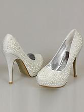 серебристые туфли для вечернего или свадебного платья, украшенные жемчужинами, цена, фото, каталог