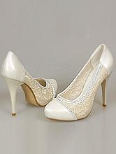 свадебные туфли цвета айвори (шампань, кремовый, светло-бежевый), с кружевом и стразами, фото