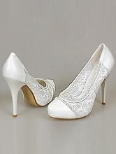 белые туфли на свадьбу с гипюровой кружевной вставкой и стразовой полоской, смотреть каталог