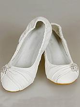 купить балетки молочного цвета со стразовой брошкой, фото