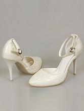 свадебная обувь, босоножки цвета айвори (шампань, светло-бежевый) с золотистым отливом на среднем каблуке
