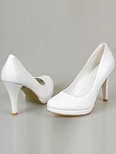 белые классические туфли для невесты на небольшой платформе