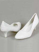 свадебная обувь, белые туфли для невесты на невысоком каблуке