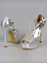 босоножки серебряного цвета на высоком каблуке, купить, фото