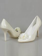 туфли цвета айвори (шампань) на среднем каблуке с атласной розочкой, фото