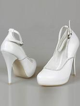 белые туфли для невесты на высоком каблуке и скрытой платформе, картинка