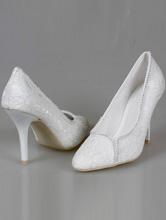 свадебные туфли-лодочки из белого кружева на высоком каблуке, фото