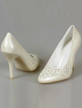 туфли для невесты цвета айвори (шампань, светло-бежевый) с вышивкой, серебристыми стразами, бисером