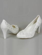 белые свадебные туфли большого размера с вышивкой, бисером и хрусталиками, фото, цена
