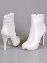 свадебная обувь, свадебные ботильоны молочного цвета на высоком каблуке