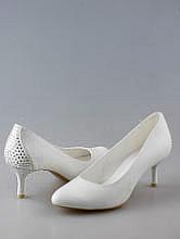 свадебная обувь, белые свадебные туфли на среднем каблуке со стразами