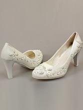 смотреть белые туфли больших размеров с бисером на среднем каблуке