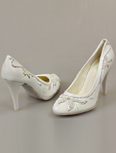 белые туфли с бисером на высоком каблуке на свадьбу, фото