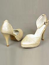 полуоткрытые свадебные туфли цвета айвори с текстурным рисунком на платформе